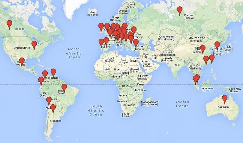 Mapa zemí, kde pracujeme
